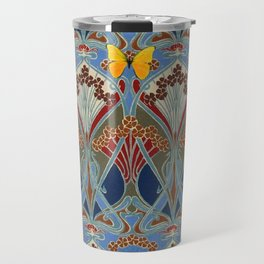Grey-Burgundy Color & Yellow Art Nouveau Butterfly Design Travel Mug