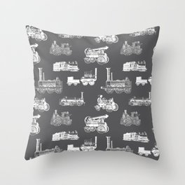 Antique Steam Engines // Charcoal Grey Throw Pillow