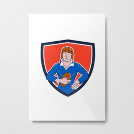 Vintage French Rugby Player Holding Ball Crest Cartoon Metal Print