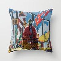 austin Throw Pillows featuring Austin by JonezuArt