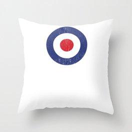 Roundel British War Plane Target Bullseye Cracked Throw Pillow
