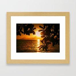 Golden Tahiti Sunset Behind Island Framed Art Print