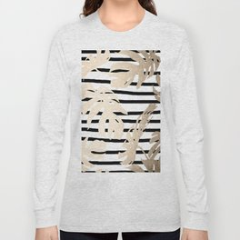 Simply Tropical White Gold Sands Palm Leaves on Stripes Long Sleeve T-shirt