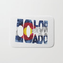 Colorado Typographic Flag Map Art Bath Mat
