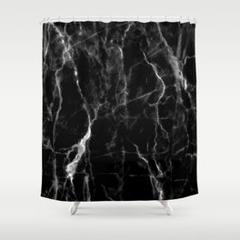 Black marble texture Shower Curtain