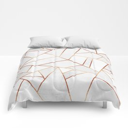 White Stone & Copper Lines Comforters