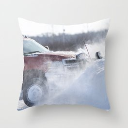 Pick-up Truck Plowing Snow 3 Throw Pillow