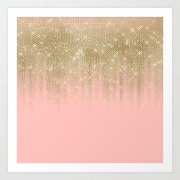 Girly Glamorous Pink Gold Glitter Striped Gradient Art Print