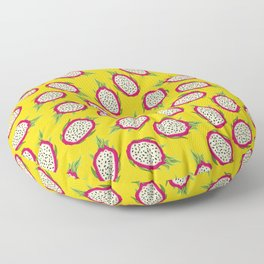 Dragon fruit on yellow background Floor Pillow