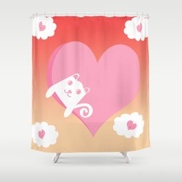 White Cat at Sunset  Shower Curtain