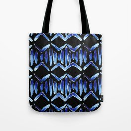 """Black and Blue Watercolor Pattern """"Zig Zag Stripes"""" Tote Bag"""