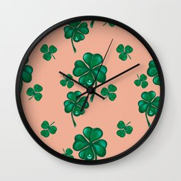 Good luck! Four leaf clover seamless pattern  Wall Clock