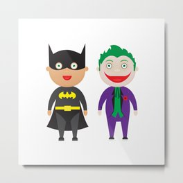 Bat and Joker Cuties Metal Print
