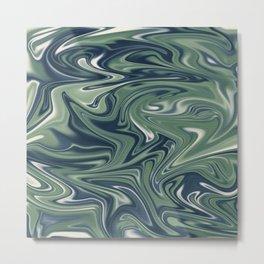 Digital marbling in blue and green tones Metal Print