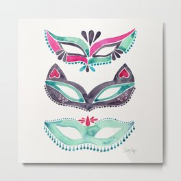 Masquerade Mask Trio – Pink & Mint Palette Metal Print