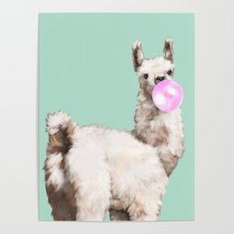 Baby Llama Blowing Bubble Gum Poster