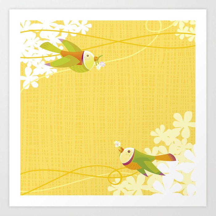 Spring Birds (Yellow) Art Print