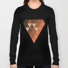 Warm Brown  -  Geometric Triangle Pattern Long Sleeve T-shirt