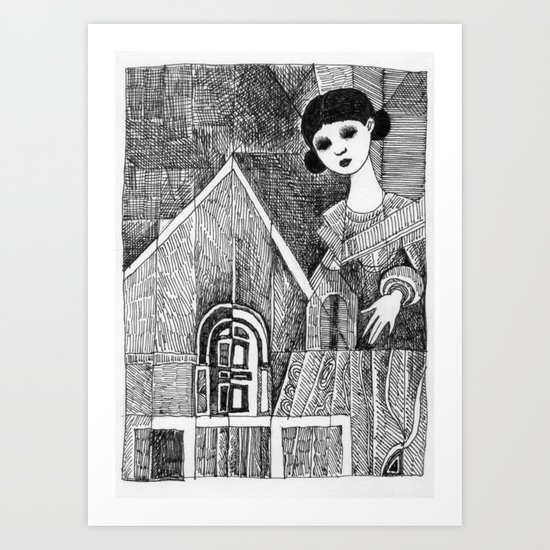 Girl on the top of her house. Art Print