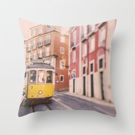 Lisbon Yellow Trolley Throw Pillow