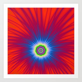 Blue Explosion on Red Art Print