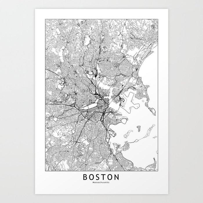 Boston White Map Kunstdrucke