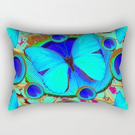 Royal Blue Eyes & Butterfly Dreams Abstract  Pattern Art Rectangular Pillow