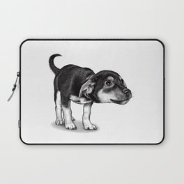 Cute cautious puppy wagging it's tail. Laptop Sleeve