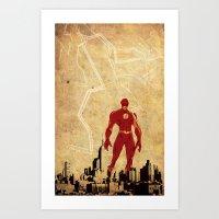 justice league Art Prints featuring Flash Justice League by Edmond Lim