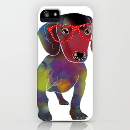 hipster dachshund iPhone Case