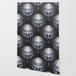 3D layers of mandala in blue-white-grey-black Wallpaper