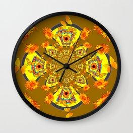 ABSTRACT SUNFLOWERS & BUTTERFLIES KHAKI ART Wall Clock
