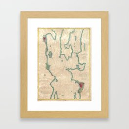 Vintage Map of Lake Champlain (1874) Framed Art Print