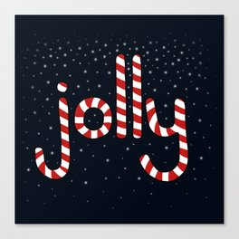 Jolly Christmas Word Art Canvas Print