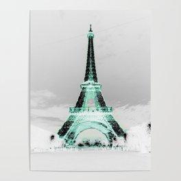 pariS Black & White + Mint Poster