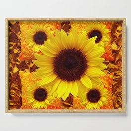 FIVE YELLOW SUNFLOWERS ON GOLDEN ART Serving Tray
