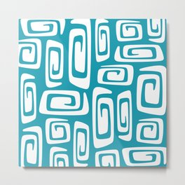 Mid Century Modern Cosmic Abstract 613 Turquoise Blue Metal Print