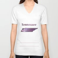 tennessee V-neck T-shirts featuring Tennessee Map by Roger Wedegis