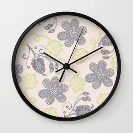 Modern vintage mint green ivory gray floral Wall Clock