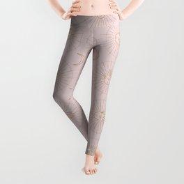 Blush Pink Gold Tribal Hand And Moon Design Leggings