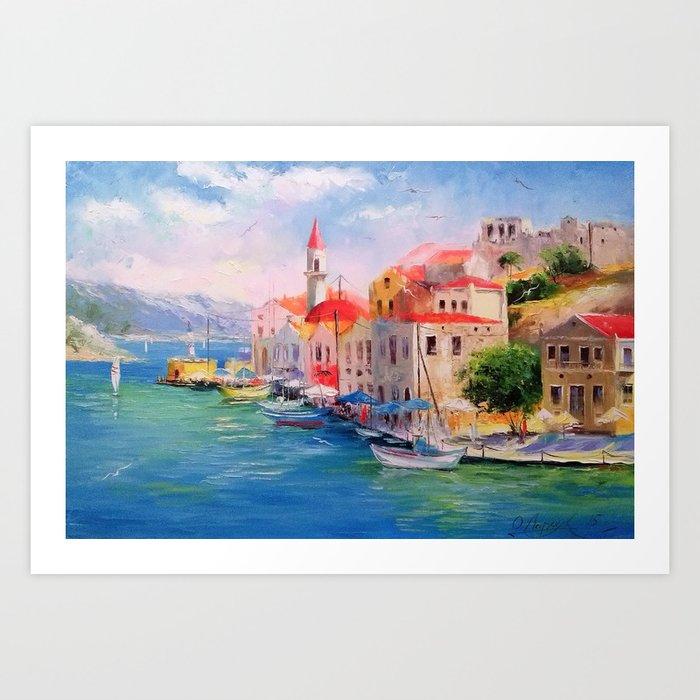 Coast sunny Greece Art Print
