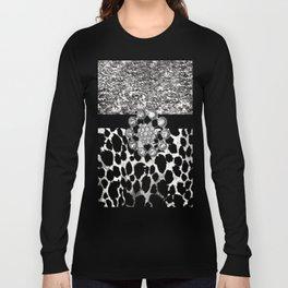 Animal Print Leopard Glam Silver and Black Diamond Long Sleeve T-shirt