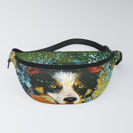 border collie jumping in water vector art Fanny Pack