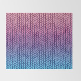 Chunky Knit Pattern in Pink, Blue & Purple Throw Blanket