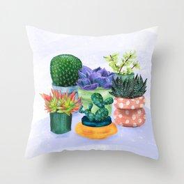 Succulent Garden House Plants Throw Pillow