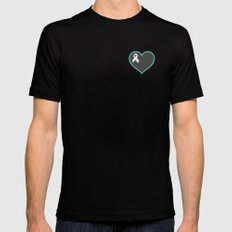 Cancer Ribbon Heart Black MEDIUM Mens Fitted Tee