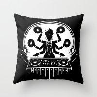 shiva Throw Pillows featuring Disco Shiva by starplexus