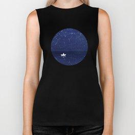 Zen sailing, ocean, stars Biker Tank