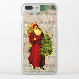 Jolly Old Saint Nicholas Christmas Vintage Santa Claus Wall Art Clear iPhone Case
