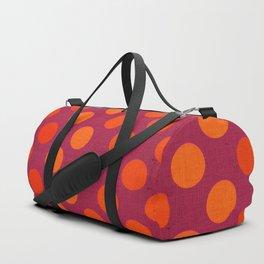 """Warm Burlap Texture & Polka Dots"" Duffle Bag"